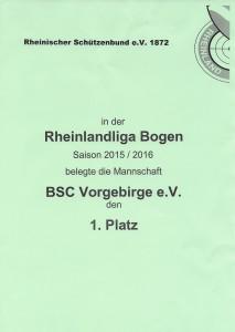 Urkunde Rheinlandliga Saison 2015/2016